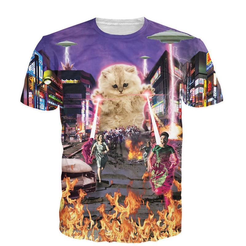Drôle Unisexe T Shirt Chat en poche drôle Feline Nouveauté tee