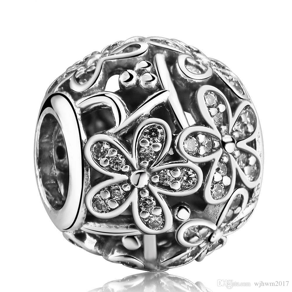 Daisy Meadow Charms Beads Authentic 925 Sterling-Silver-Jewelry Pave Clear Crystal Flower Beads DIY Brand Bracelets Jewelry Accessories