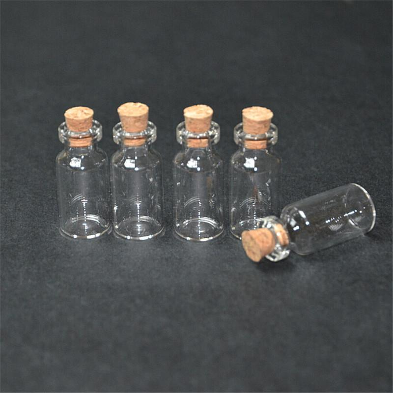 small glass jars with cork Mini empty glass bottles Wood lid glass vial1