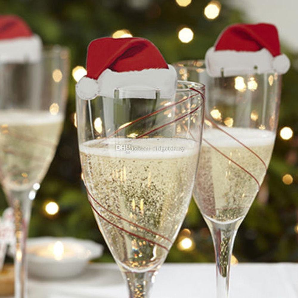 2017 новый 10 шт. / лот Xmas шляпы шампанское бокал для вина шапки Рождество праздничный стол украшения картон место карты