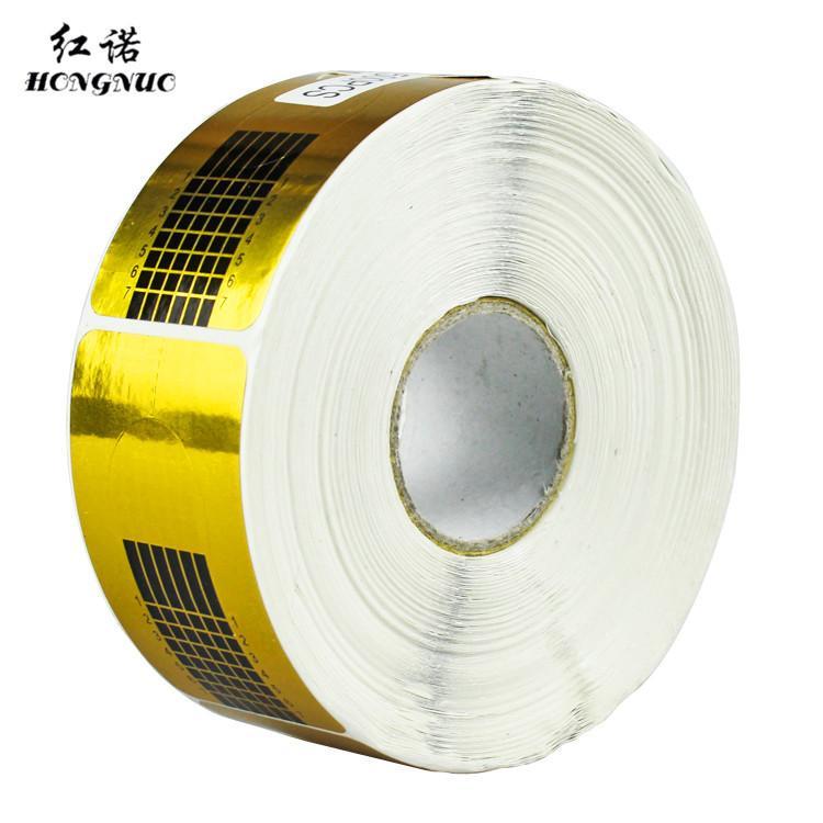 CHIODI all'ingrosso nuovo 500 pz / rullo quadrato d'oro Nail Form adesivi, punta del gel Ricostruzione unghie Strumenti, Nail Titolare carta Accessori di bellezza