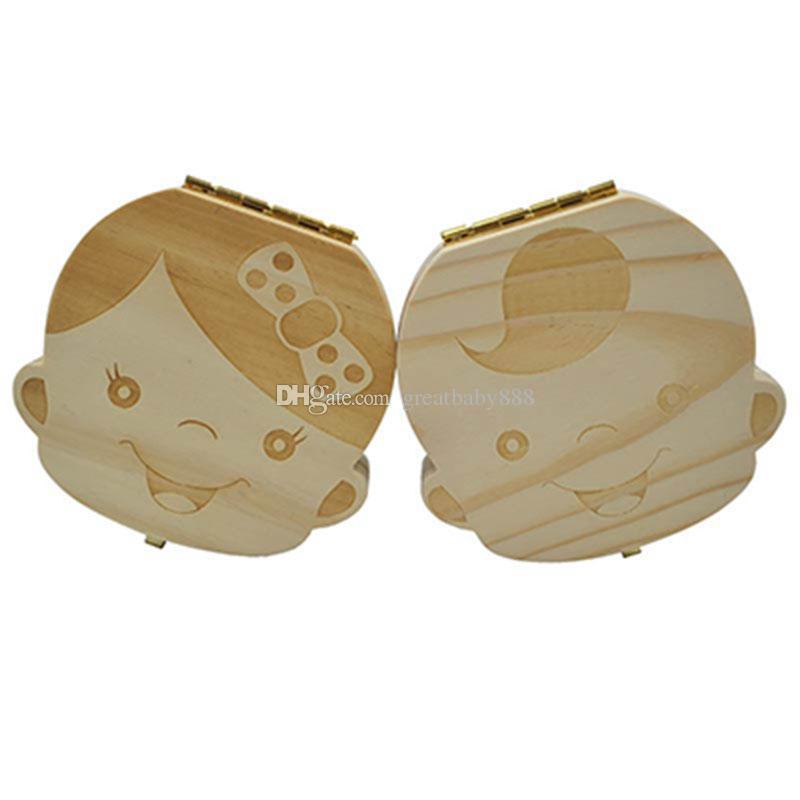 Оптово-Зубная коробка для детей Сохранить Молочные зубы для мальчиков / девочек Изображение Деревянные ящики для хранения Творческий подарок для детей Набор для путешествий 2 стиля C1892
