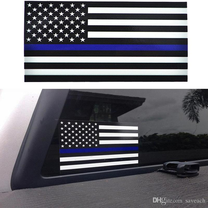 Adhésif drapeau bleu ligne mince - 2.5 * 4.5inch drapeau américain autocollant pour voitures et camions - Stickers fenêtre mur