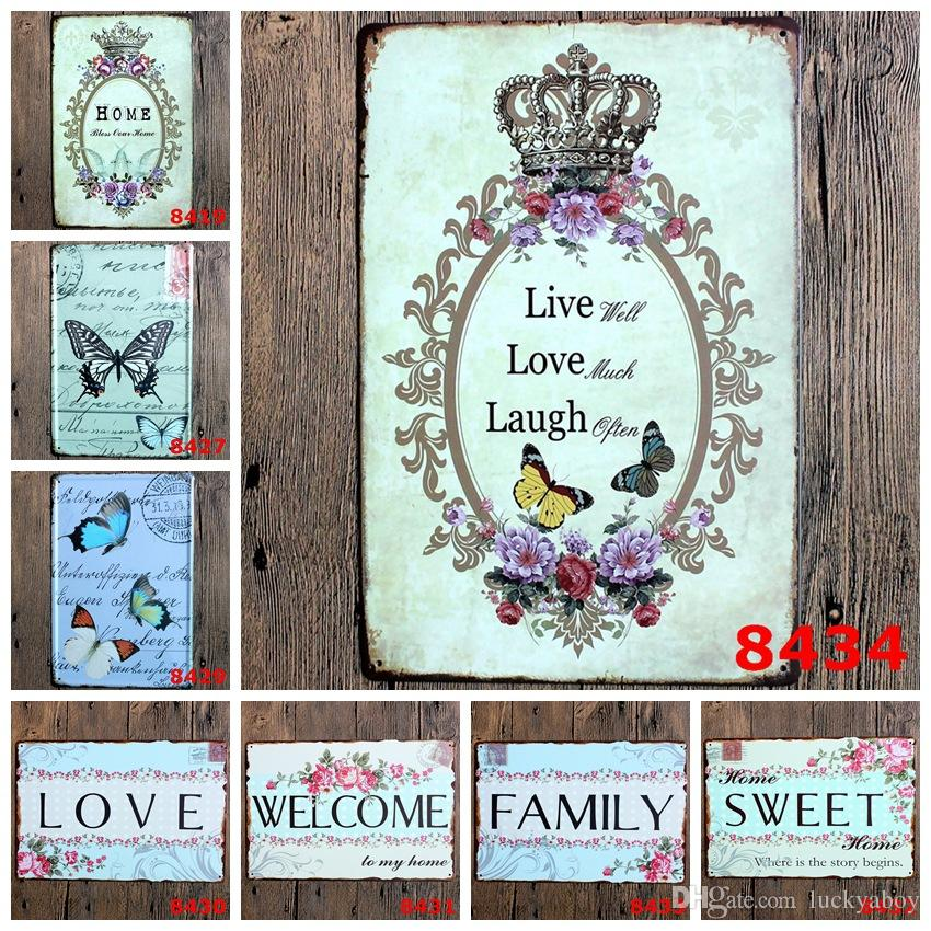 family love Retro welcome sweet home Poetry Vintage Craft Tin Sign Metal Painting Antique Iron Poster Bar Pub Signs Wall(Mixed designs)