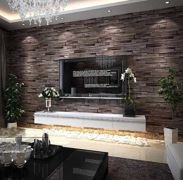Wholesale New 3D Luxury Wood Blocks Effect Brown Stone Brick 10M Vinyl Wallpaper Roll Living Room Background Wall Decor Art Paper 2018 From Brendin