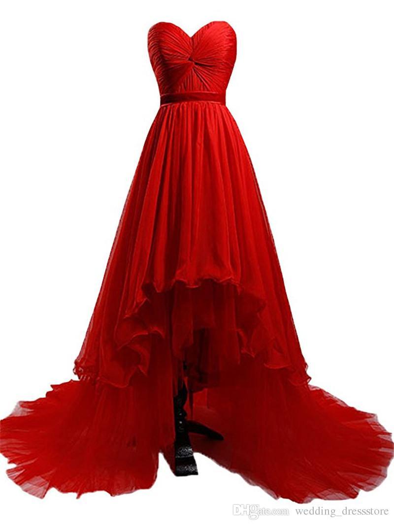 Women Dress Evening Robe De Soiree Longue 2017 High Low Prom Dress Red Chiffon Long Evening Dresses Cheap