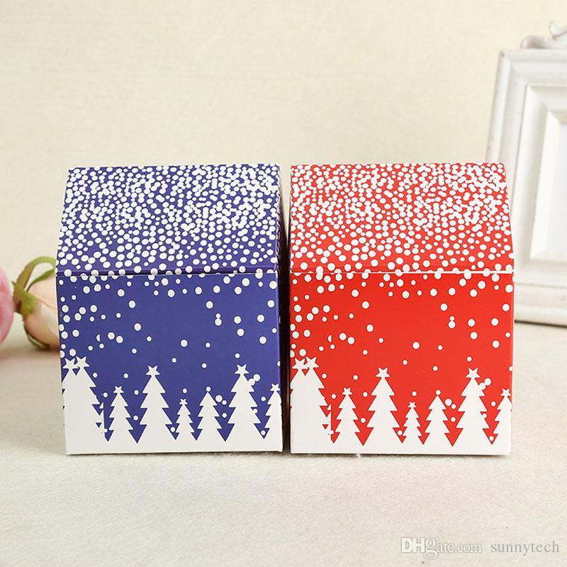 Confezione regalo Scatola rossa Biscotti con fiocchi di neve Biscottiera Scatola per dolci Vigilia di Natale Scatole di mele Decorazione per feste ZA4228 all'ingrosso