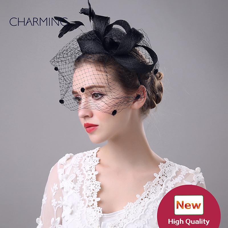 cappello di fascinator cappello da sposa nero cappelli da sposa britannici maglia e piuma occasione Materiale cappelli eleganti per il matrimonio