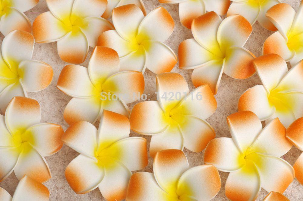 100PCS 7cm Wholesale Plumeria Hawaiian Foam Frangipani Flower for Wedding Party Hair Clip Flower Bouquet New
