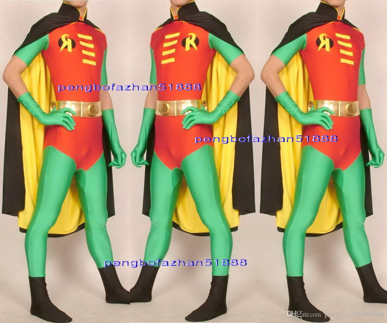 Fantasia Robin Trajes Outfit Lycra Spandex Robin Catsuit Traje Vermelho / Verde Trajes Com Preto / Amarelo Dupla Capa Unisex Super Hero Trajes P082