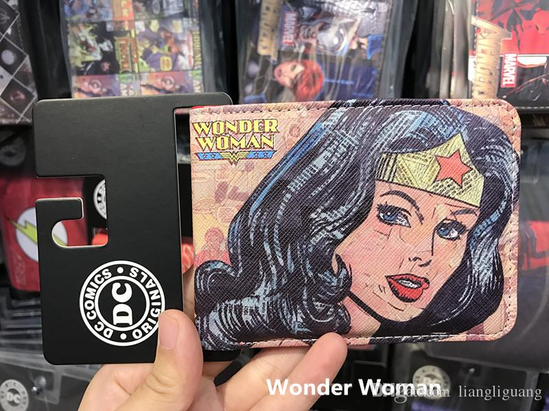High Quality Popular DC Comic Wallets WONDER WOMAN Personality Design For Girls Short Slim Leather Purse
