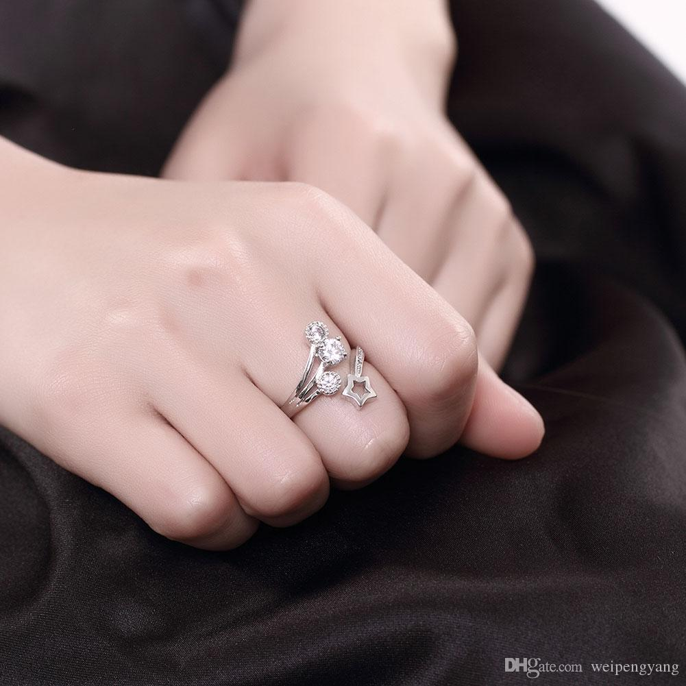 2018 Real 925 Sterling Silver Jewelry Star Rings For Women Luxury ...