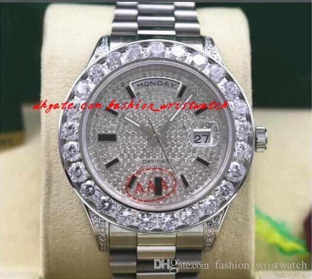 Новое Прибытие Высочайшее качество Роскошные наручные часы Мужская 18038 18K Белое золото Большие бриллианты Автоматическое механическое движение 36 мм Часы Мужские Часы