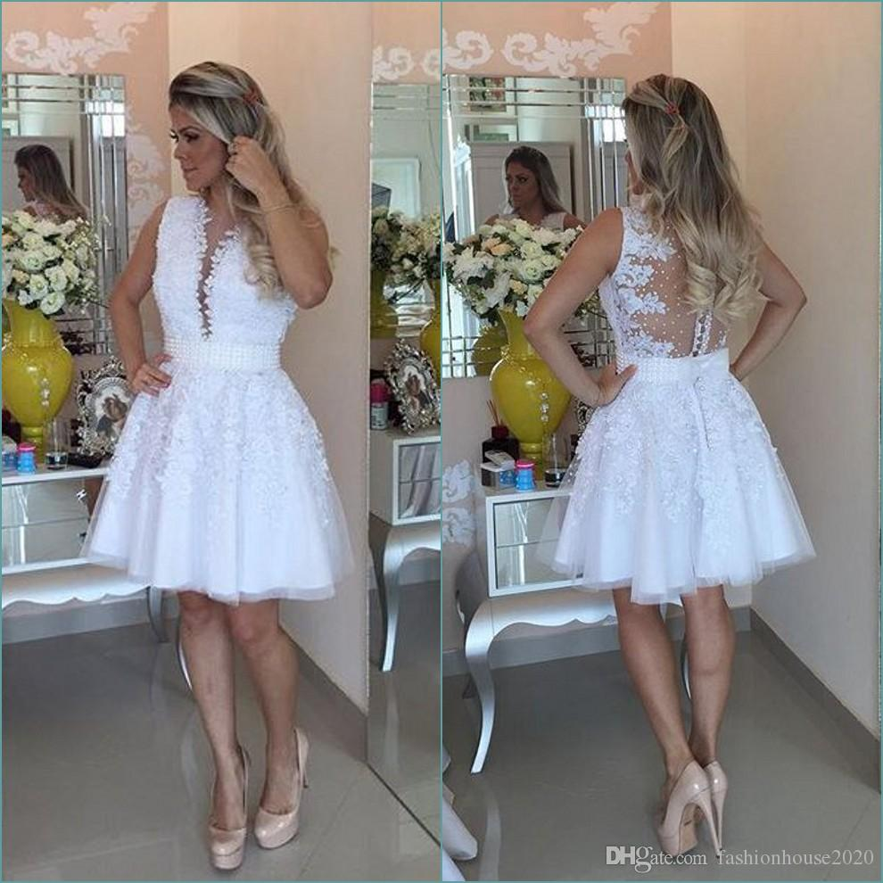 Little White Knee Length Cocktail Dresses Sexy Rhinestone Pearls Party Prom Gowns Sheer Illusion Bodies Cheap Women Celebrity Short Dresses