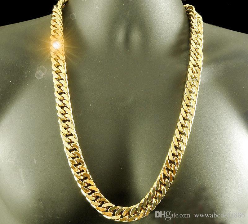 24 كيلو الذهب الأصفر الحقيقي الانتهاء من الصلبة 11 ملليمتر xl ميامي ميامي كوبان منضدة قلادة سلسلة أفضل حزم شحن مجاني غير المشروط عمر