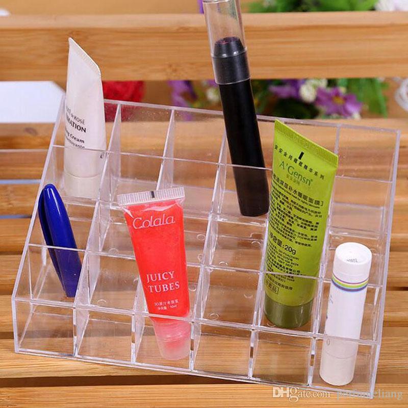 24 Lipstick Holder Display Stand Clear Plastic Cosmetic Organizer Makeup Case Sundry Storage Box Free Shipping ZA4023