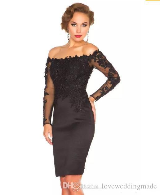 2017 Sexy Illusion Long Sleeve Knee Length Evening Dresses For Women Cocktail Party Wear Short Mother Groom Guest Gown