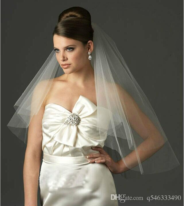 Free Shipping Hot Sale Simple Cheap Wedding Accessories 2017 Wedding Head Veil White/Ivory 2T Bridal Veil