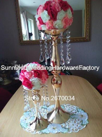 Tall wedding pillar flower stand , silver or gold metal vase centerpieces for aisle decor