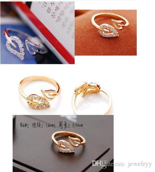 Unique Gold Silver Plated Finger Ring Shining Crystal Love Heart Leaf Rings Gilrs Women party Jewelry free shipping