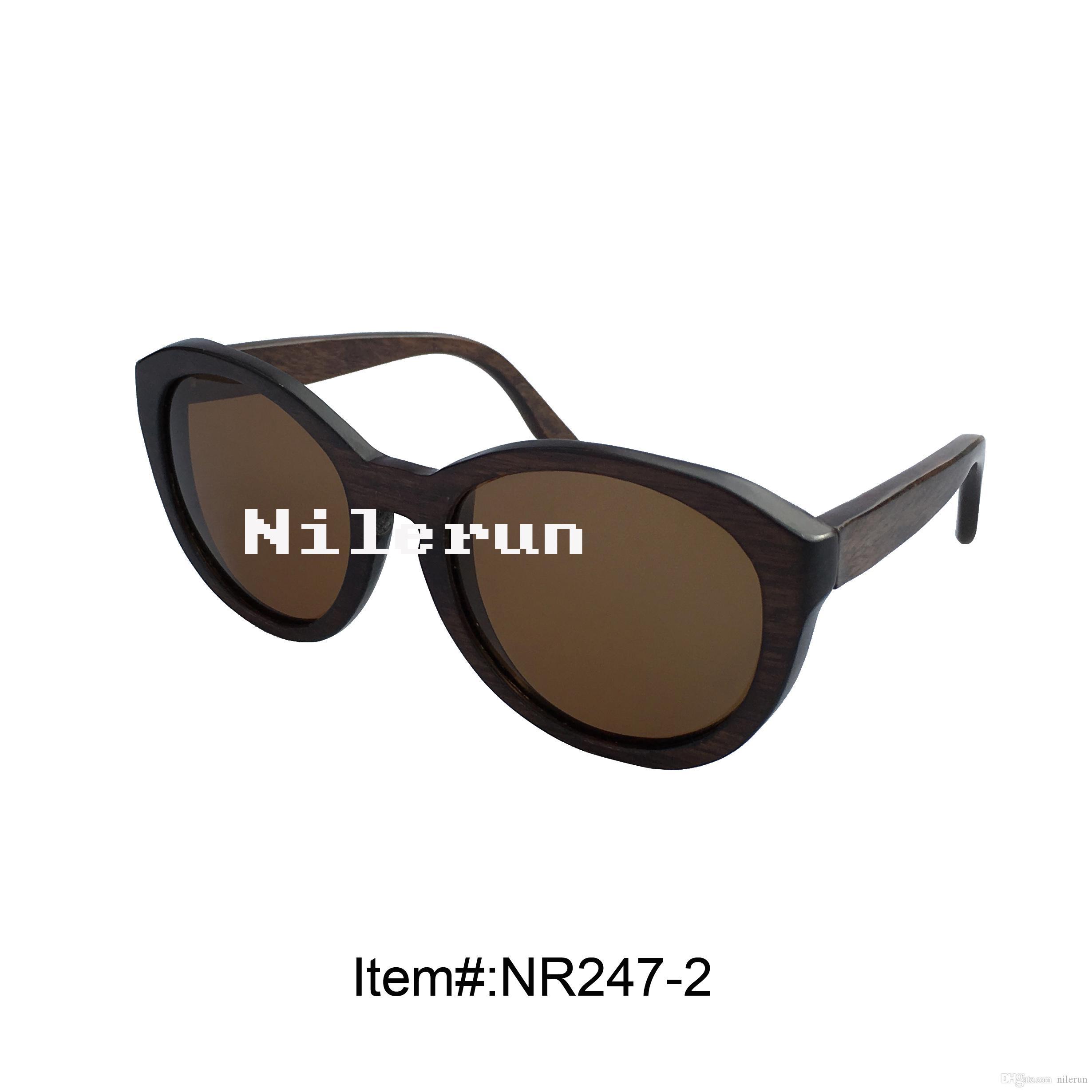 occhiali da sole grandi da montare rotondi in legno nero antico