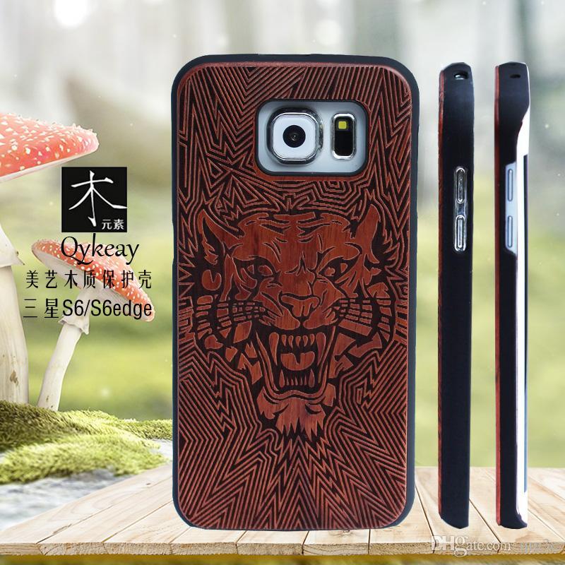 Moda Tasarım Çevre Dostu Ahşap Kılıf Samsung Galaxy S6 S6edge S5 S7 S7 kenar Ahşap Telefon Kapak Iphone 6 6 s 7 artı