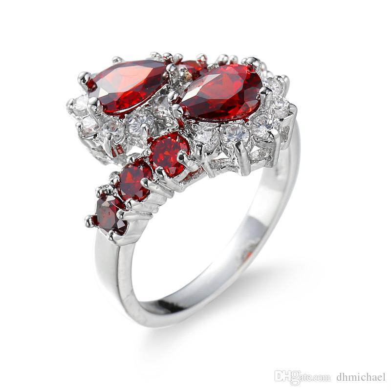 Rubi vermelho CZ Gem White Gold Filled Festa de Noivado de Casamento Banda Anel de Dedo Sz6-10