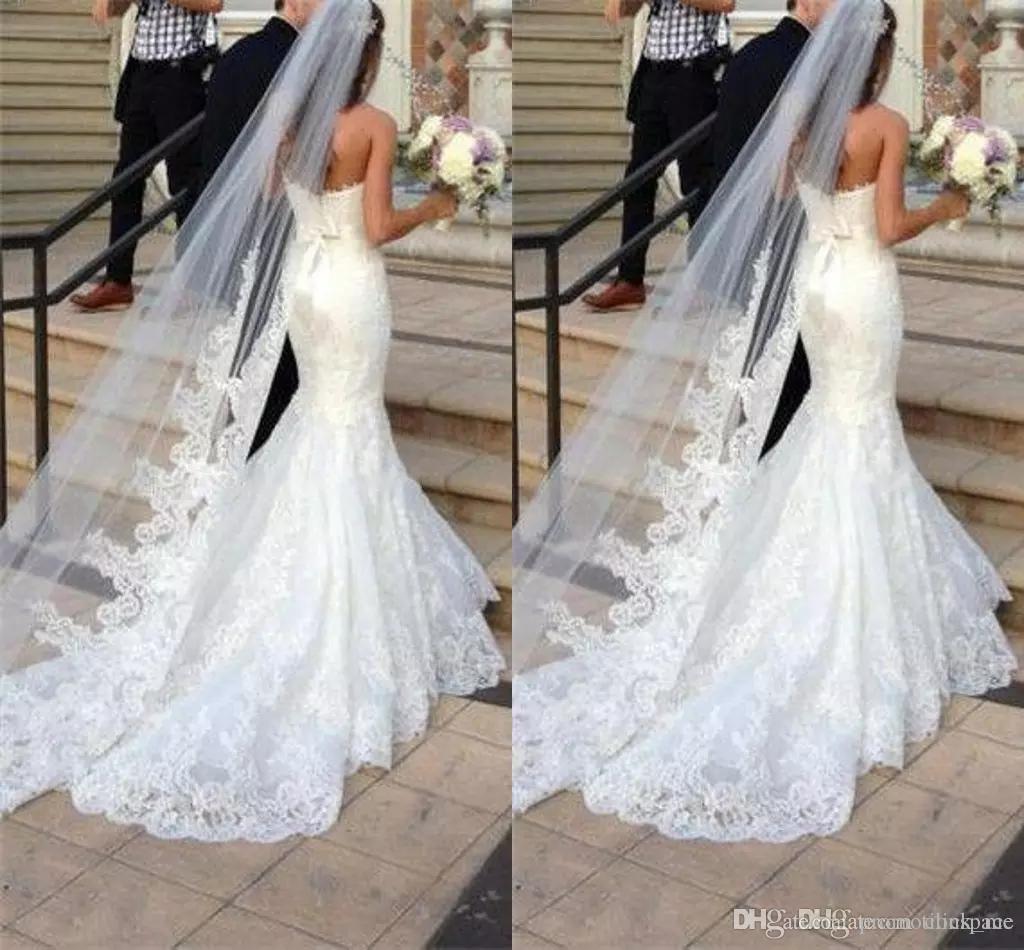 جديد أفضل بيع حجاب طويل طبقة واحدة تول الزفاف الحجاب يزين / الدانتيل الحجاب الزفاف الأبيض / العاج الحجاب لفساتين الزفاف