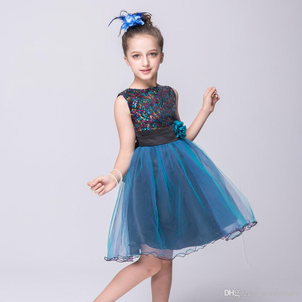 2018 Summer Voile Baby Girls Party Dresses Sash Kids Girl Show ...