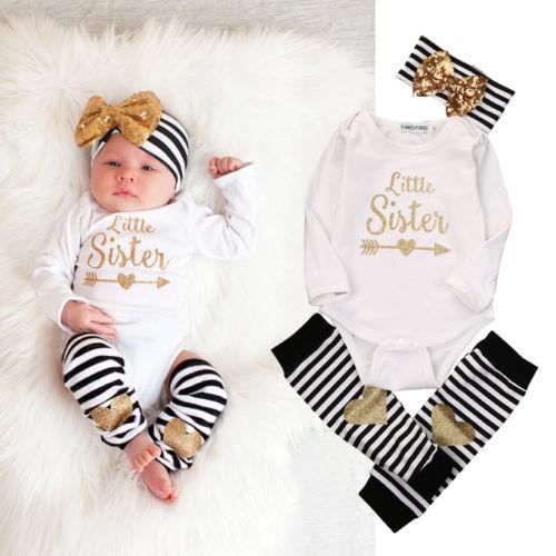 All'ingrosso- 0-18M Neonate Vestiti bambina Little Sister Manica lunga Pagliaccetto a righe Scaldamuscoli arco Hairband 3pcs Abbigliamento bambini