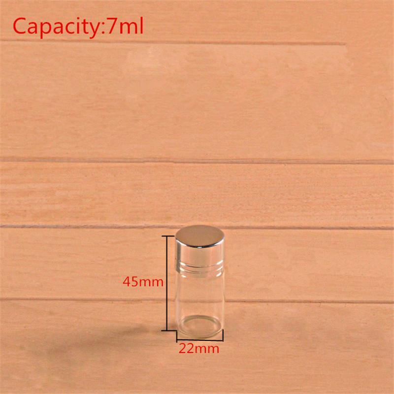 7ml Glass Bottles Screw Cap Silver Aluminium Lid Empty Glass Jars Vials Bottles Sealing up Container 7ml