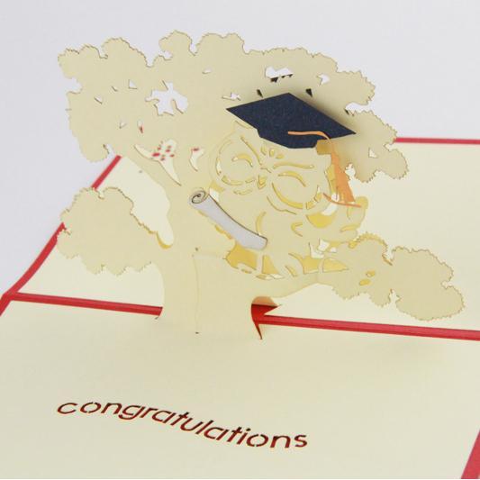 Gros- saison Graduation carte Thanksgiving / 3D Kirigami cartes postales / cadeaux faits à la main KCS de papeterie