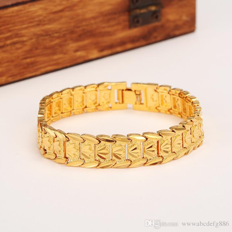 Nuovi classici eterni Bracciale largo 24k oro massiccio solido giallo GF Dubai Bangle Donna Trendy mano gioielli catena orologio a catena