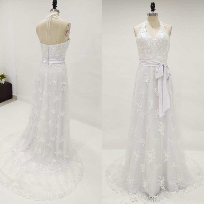 Real Halter Lace Beach vestido de novia sin mangas con cuentas apliques vestidos de novia de la sirena Vestidos de novia barrer el tren extraíble faja por encargo