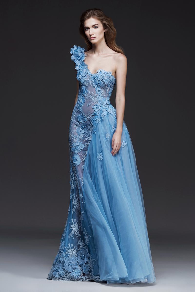 Vintage Light Sky Blue One Shoulder Evening Dresses 2016 Floral ...