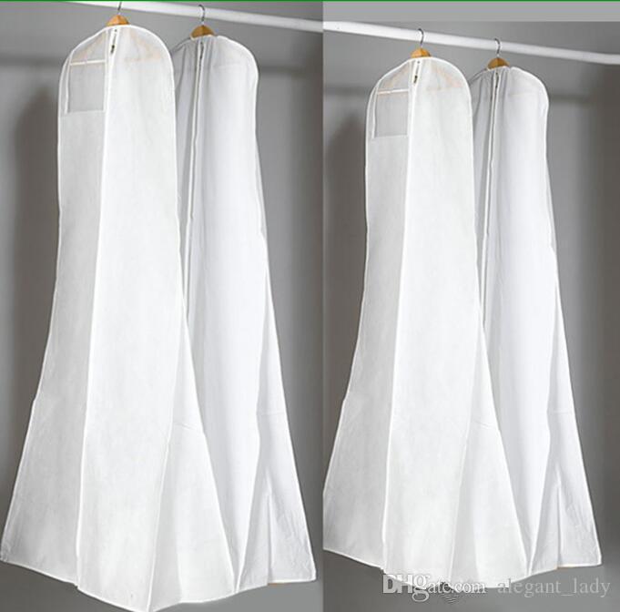 Grand 180cm Robe De Mariage Robe Sacs De Haute Qualité Blanc Sac À Poussière Longue Vêtement Couverture De Stockage De Voyage Couvre-Poussière Vente Chaude