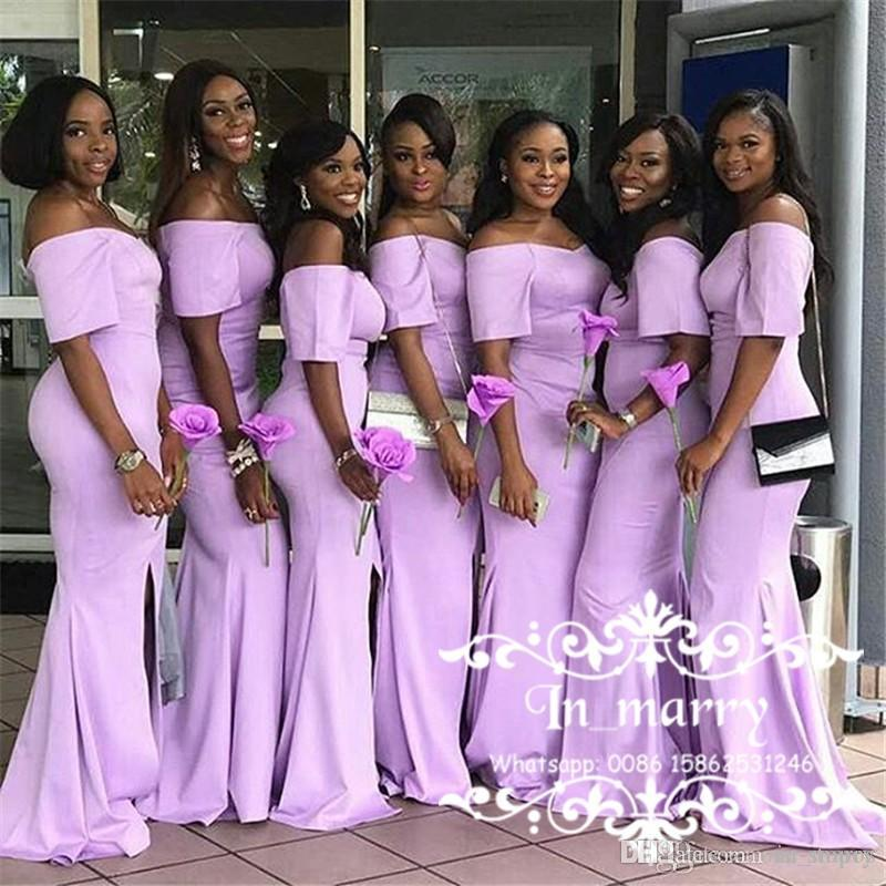 African Mermaid Pink Bridesmaid Dresses 2017 off the shoulder Half Sleeves Formal Maid of Honor Gowns Front Split Wedding Guest Dress