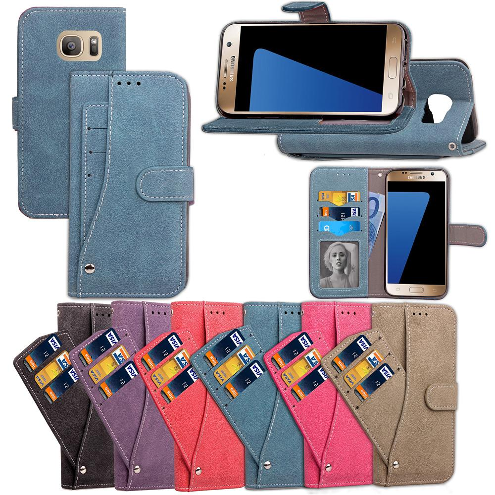 For Galaxy S7 Case Cover Convenient Cool Revolving with Wallet Card Pocket Frosting Rough Ati-skid Surface