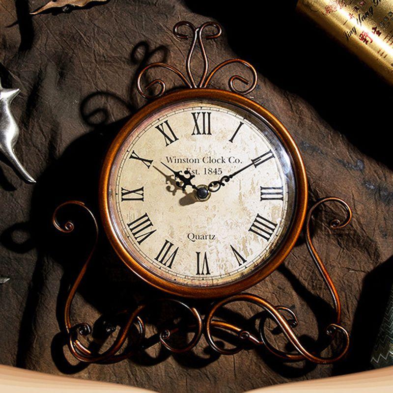11 بوصة خمر الحديد الفن الصامت ساعة - ساعة سطح المكتب الديكور المنزل - الرجعية ساعات السرير ومكتب مكتب (بطارية تعمل)