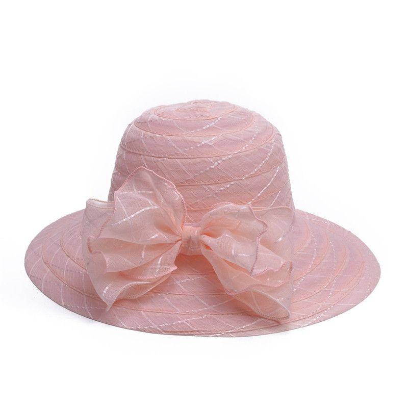 Mode féminine large bord Big Bowknot élégantes dames élégantes robe de mariée église thé chapeaux A443