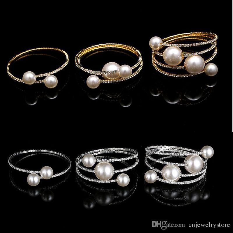 Vendita calda multi fila spirale strass perla braccialetto di fascino braccialetto da sposa bracciali elastici braccialetti gioielli all'ingrosso per le donne