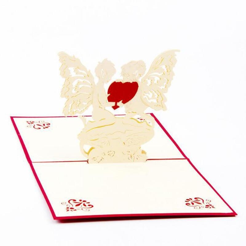 (10 adet / grup) Romantik Melek Kalp Tarzı 3D Tebrik Kartı Kağıt Kartı Stereo Pop UP Kart sevgililer Günü için Ücretsiz nakliye