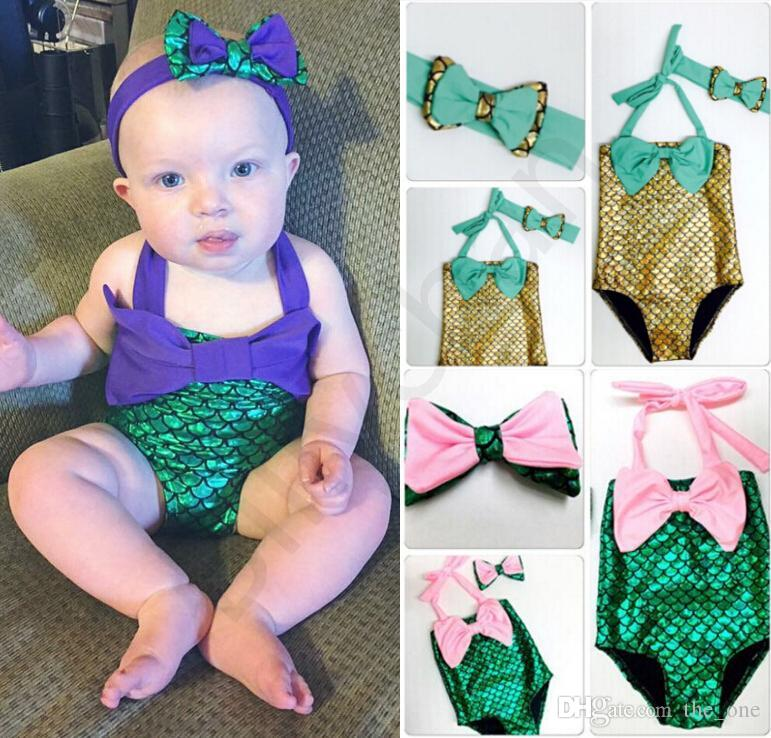 Baby Kid Girl Toddler One Piece Swimsuit Bowknot Polka Dot Bathing Suit Tankini Dress with Headband