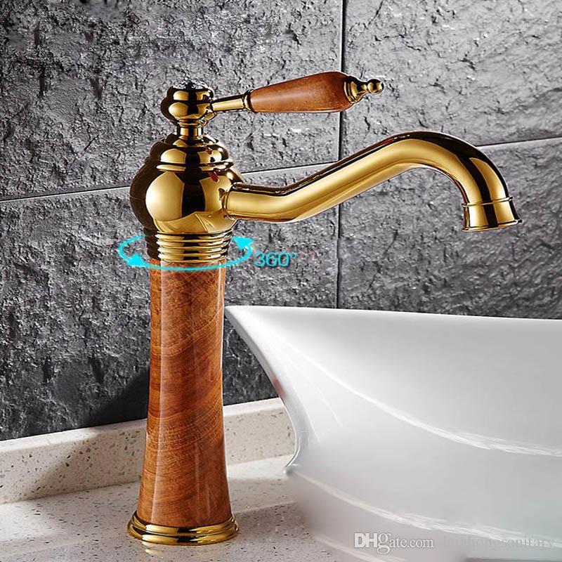 Topraklar Pirinç Ile Dönebilen Musluk Altın Finish Mermer Taş Vücut Tek Kolu bir delik Soğuk ve Sıcak Su Dokunun Banyo Lavabo Bataryası