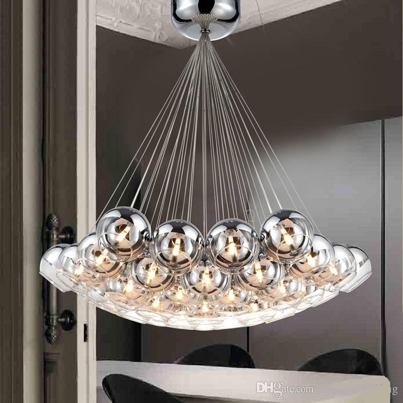 Modern Cam Kolye Lambaları Topları Için LED Kolye Avize Işık Oturma Yemek Çalışma Odası Ev Deco G4 Yarım Krom Avize Lamba Armatürü