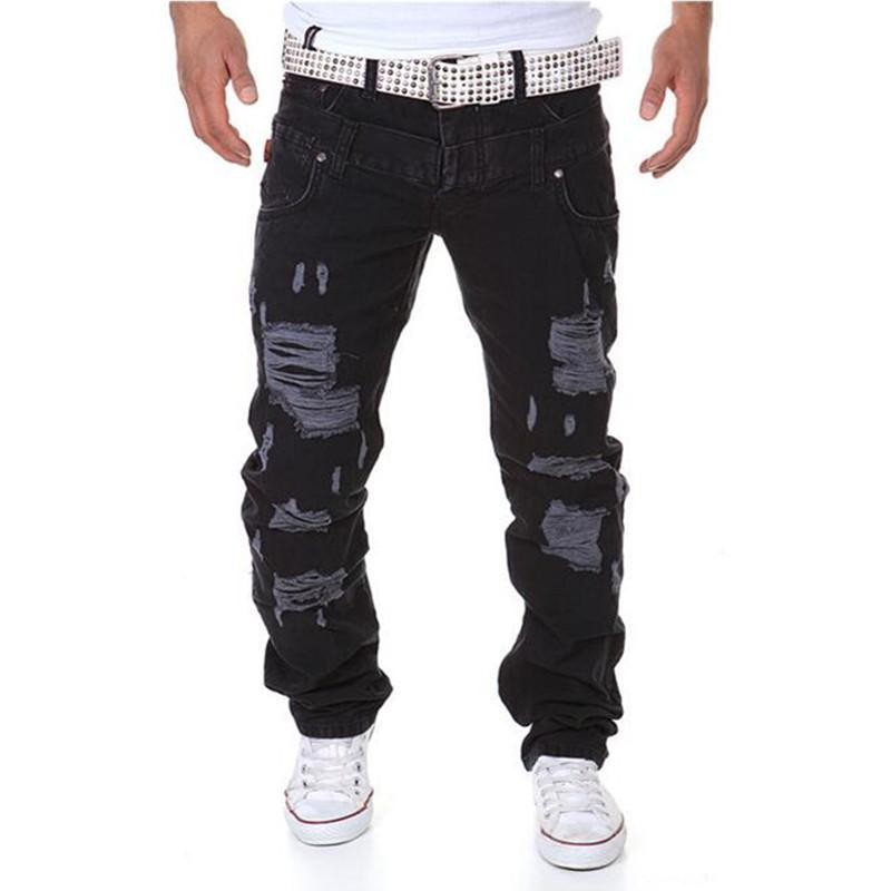 Toptan-Erkek Joggers 2016 Sıcak Bahar Jogger Pantolon Erkekler Katı Moda Ripped Ayak Bileği-bağlı Slim Fit Sweatpants Youths Kargo Pantolon (Asya Boyutu)