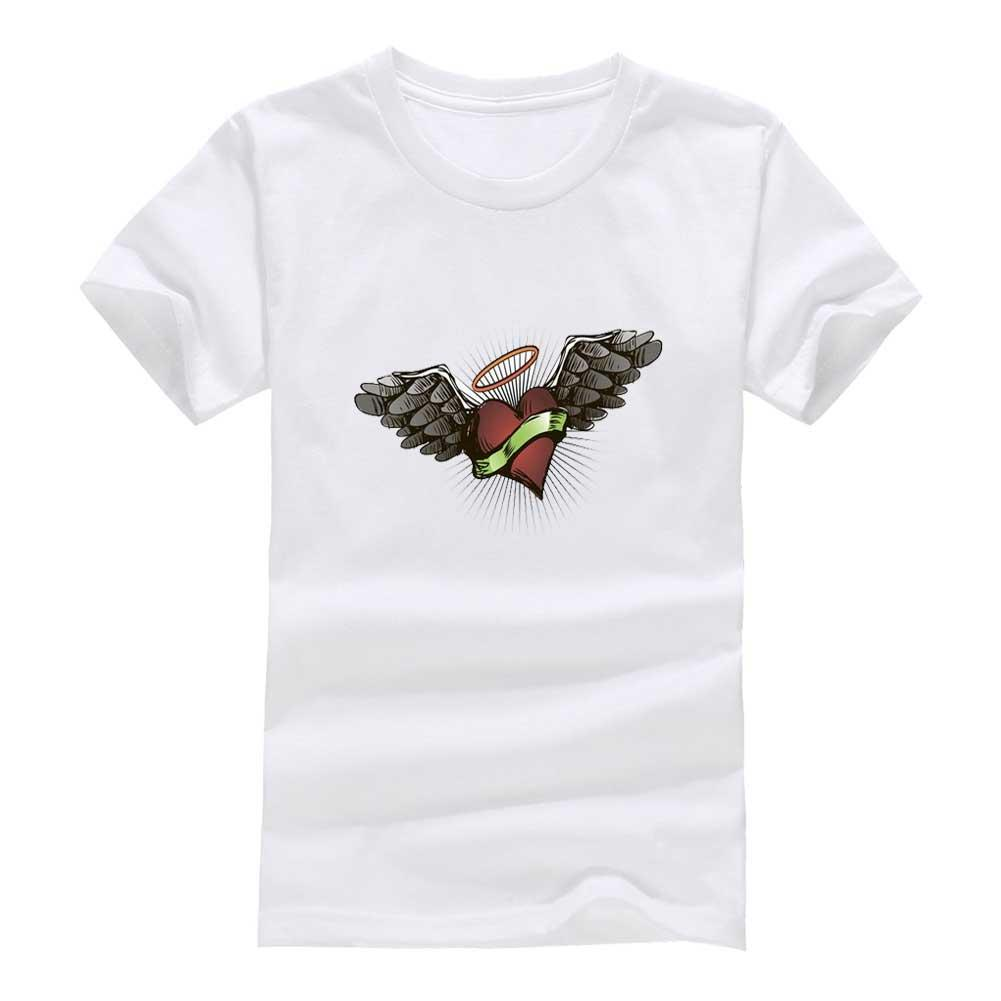 Wing heart 2020 New Clothes Fashion Man Casual T-Shirt Cotton O Neck Short Sleeve Loose Personalized unique Male Tops Tees Wholesale