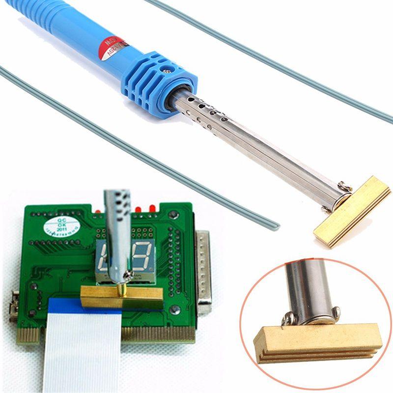 Soldatura da 40W saldatura in ferro T punta saldare il ferro t testa con striscia di gomma per la riparazione del cavo del nastro del pixel LCD