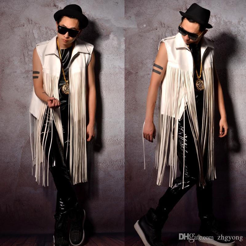 Cuoio dell'unità di elaborazione e nappe mosaico uomini gilet maschio bianco marea gilet gilet bar DJ costumi DS per cantante ballerino spettacolo prom abbigliamento prestazioni