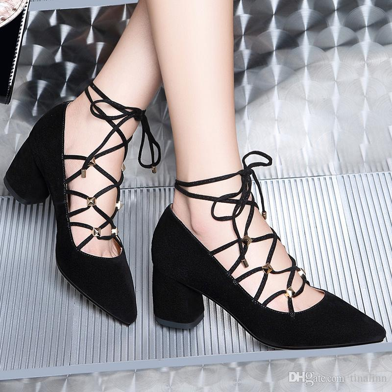 With Box New leather Women Dress Shoes Heel Pointed Toes Ankle High Heel Classic women high heel shoes Chains female zip Shoes Size 34-40 17